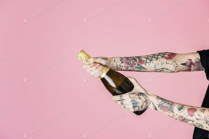 Popping a champagne