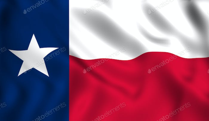 Texas flag waving in the wind