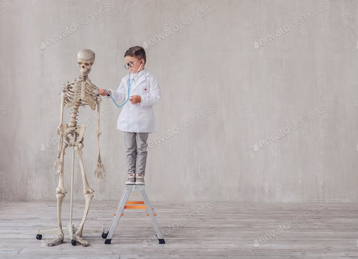 Little boy with a skeleton