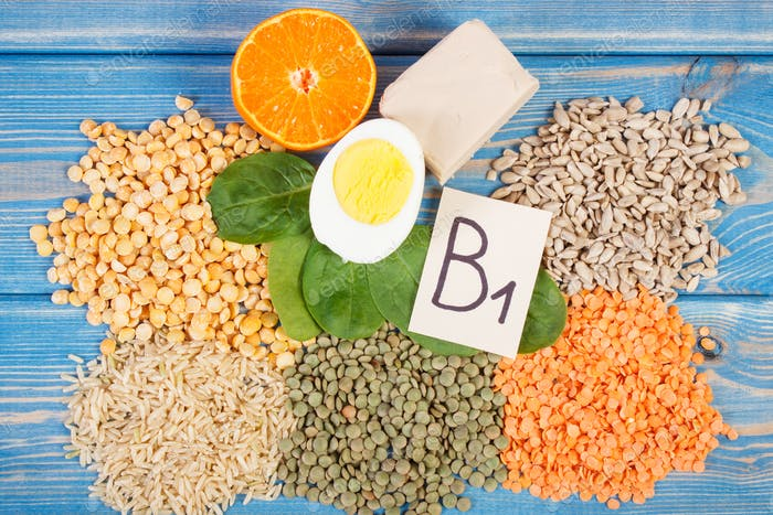 Ingredients containing vitamin B1 and dietary fiber, healthy nutrition