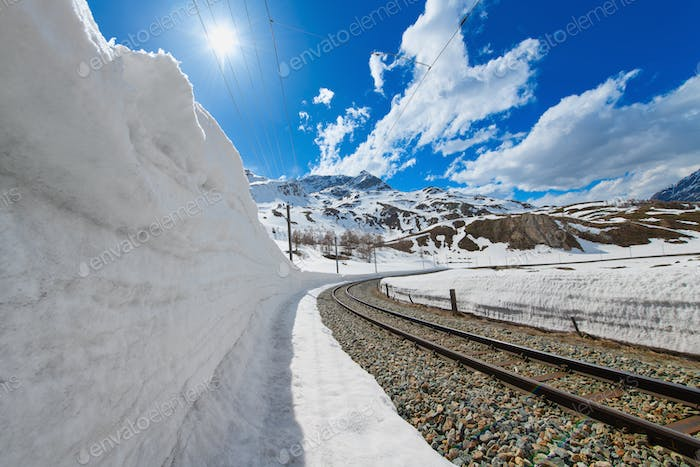 Snow-wall for the passage of the Rhaetian Railway