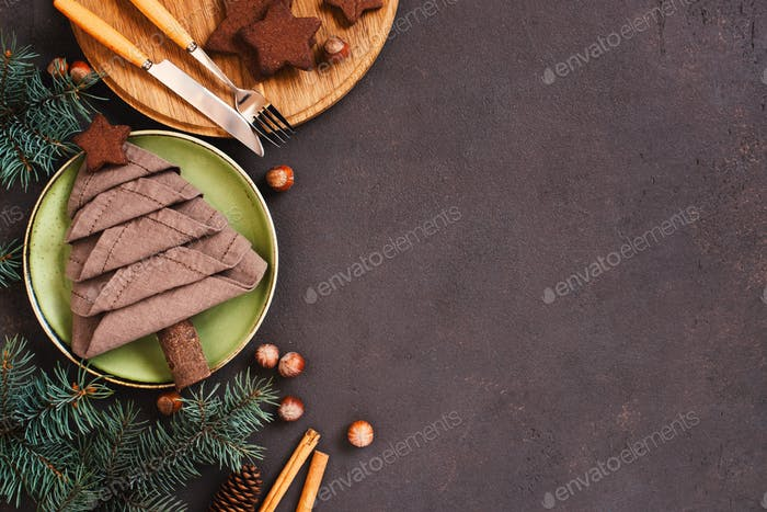 Brown Background with Christmas Tree of Linen Napkin