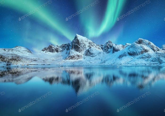 Aurora Borealis, Lofoten islands, Norway.
