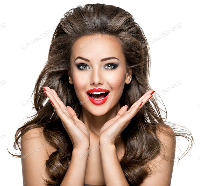 beautiful  woman with excited emotions and long brown  hair