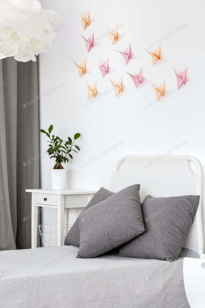 Room with paper origami decoration.