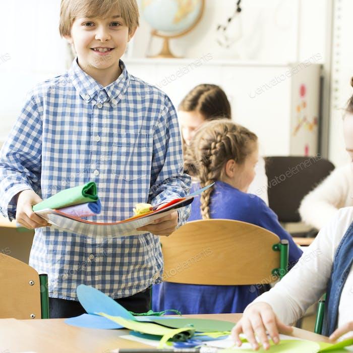 School children during art class