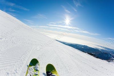 Skiing on a ski slope