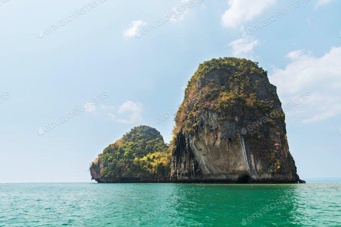 krabi island cliff in ocean water at thailand