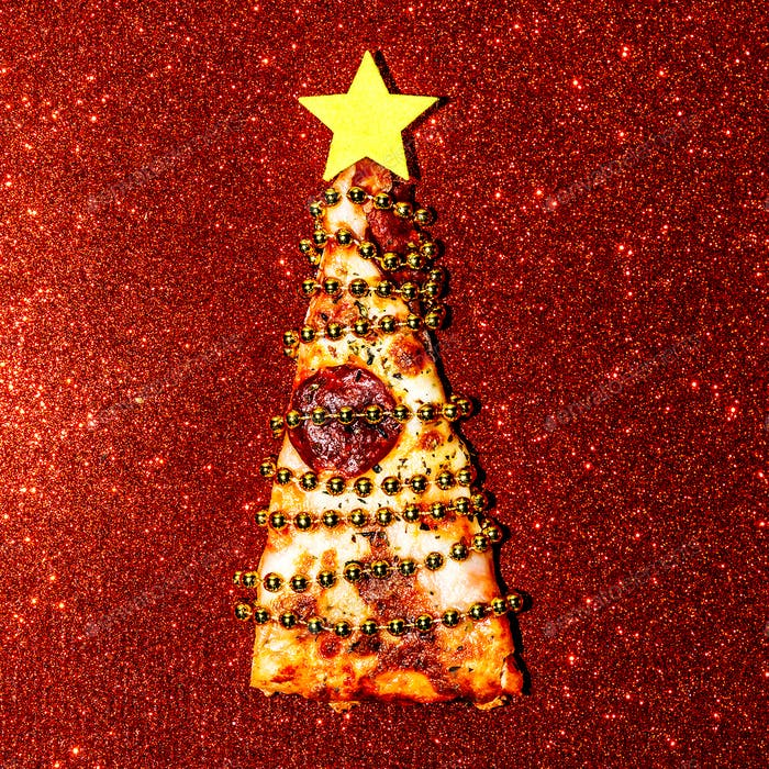 Christmas Pizza sequins. Fast Food Art Flat lay minimal