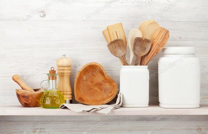 Set of various kitchen utensils