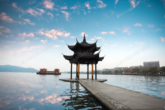hangzhou pavilion with sunset glow