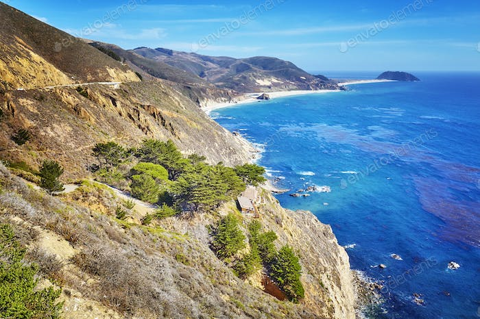 Coastline along the Pacific Coast Highway, USA