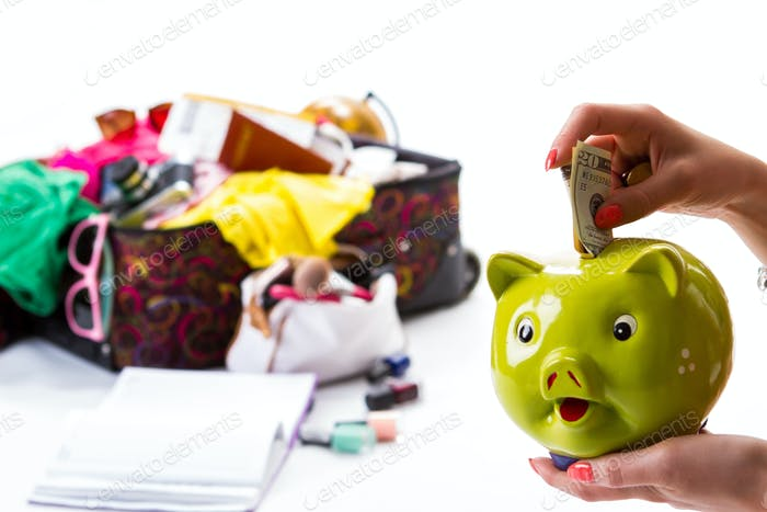 Hand with a piggy bank