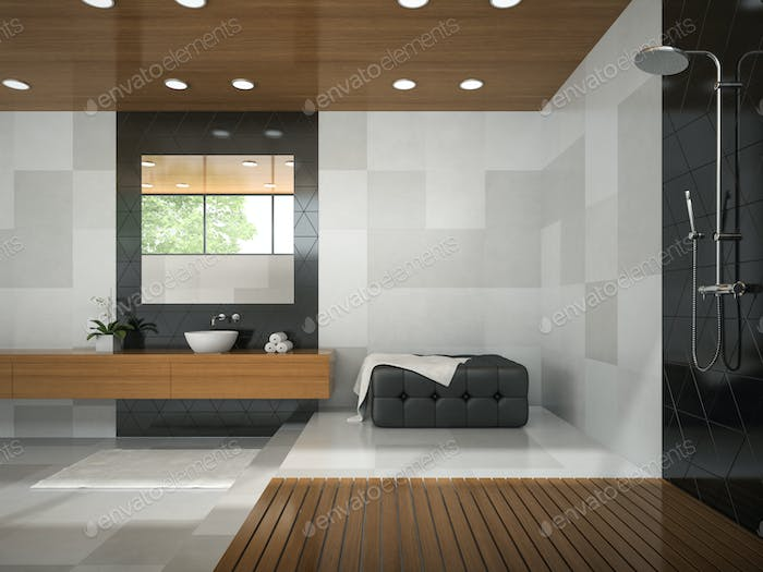 Interior of  stylish bathroom with wooden ceilibg 3D rendering