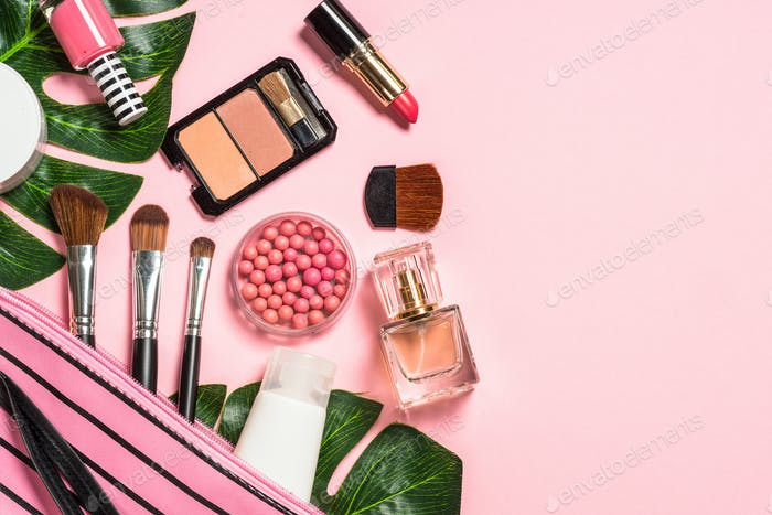 Makeup professional cosmetics on pink background