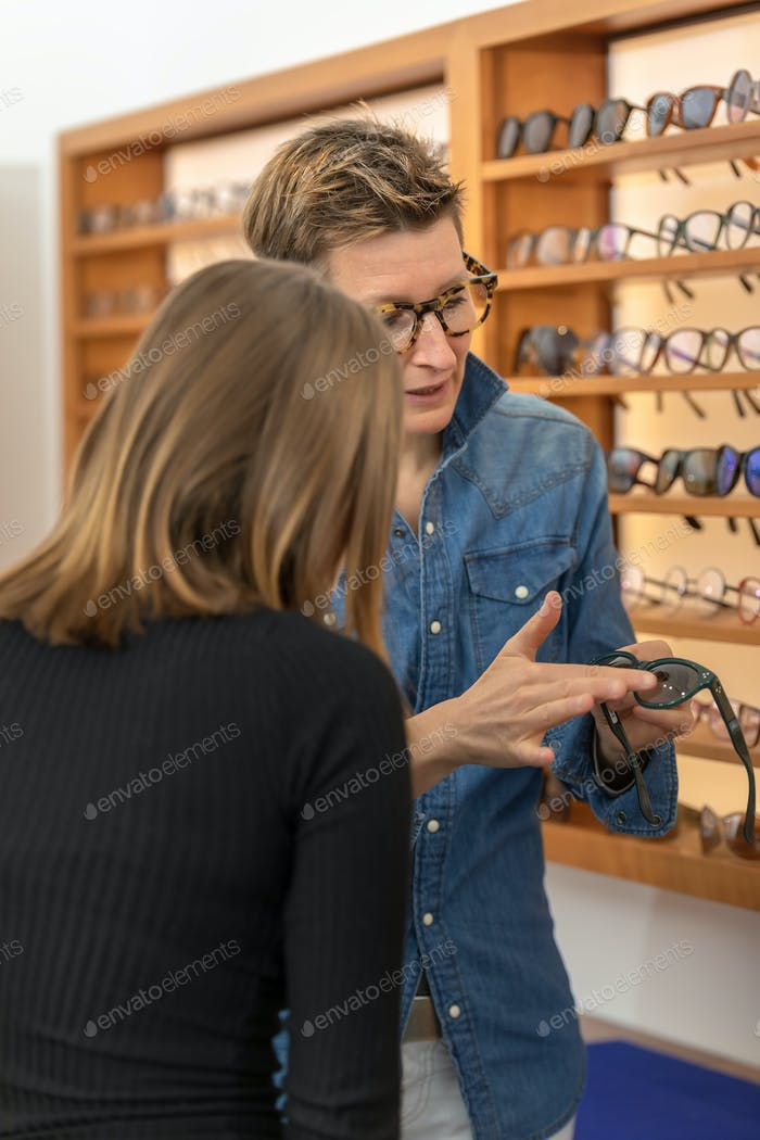 woman in a eyewear store