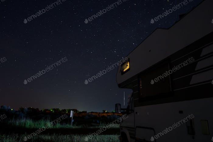 Night Scene with Motorhome