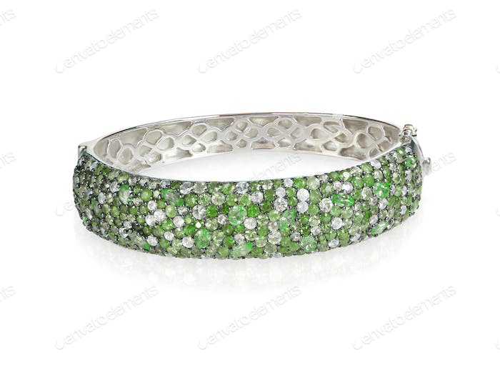 Bracelet Green Emerald Crystal Bangle