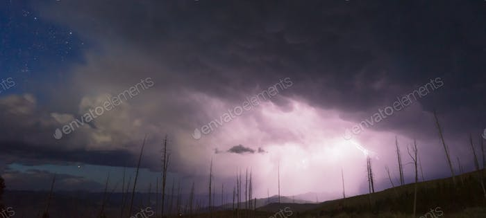 Over Tower Creek Thunderstorm Lightning Strikes Yellowstone