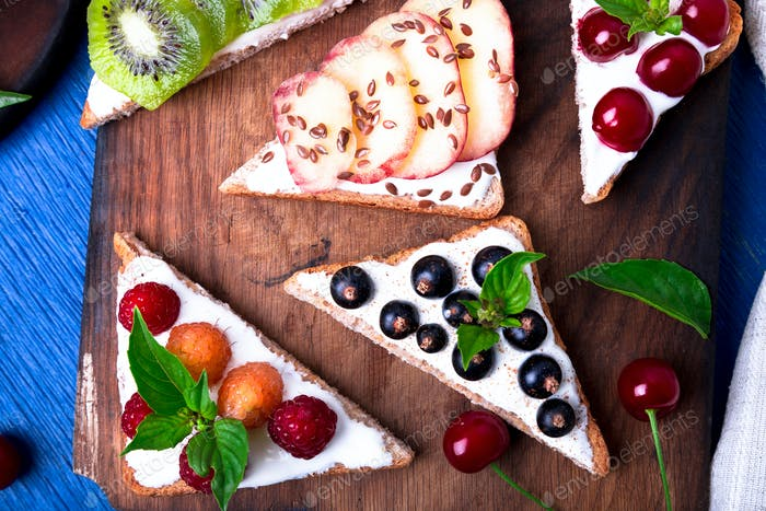 Fruit toast on wooden board