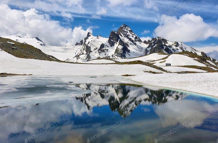 Amazing Rutor Lake on the way to Rutor Glacier, Aosta Valley, Italy