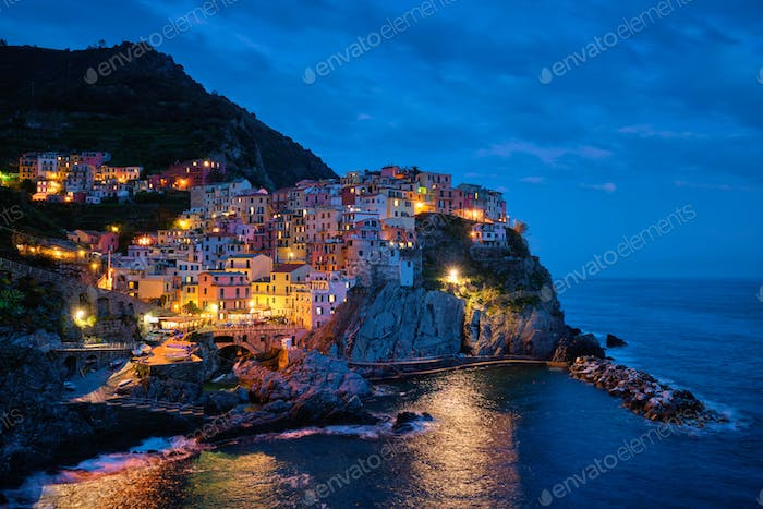 Manarola village n the night, Cinque Terre, Liguria, Italy