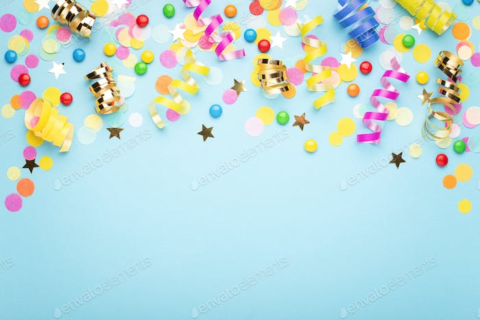 Birthday Party Background with Confetti on Blue.