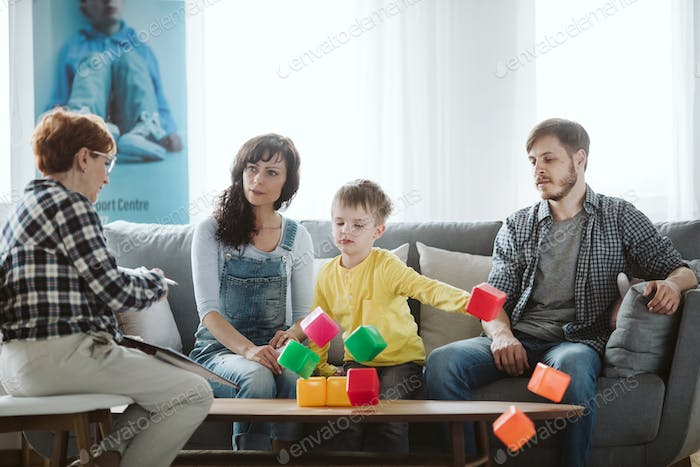 Angry kid on psychotherapy