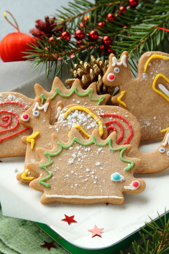 Christmas animal-shaped cookies with festive decorations