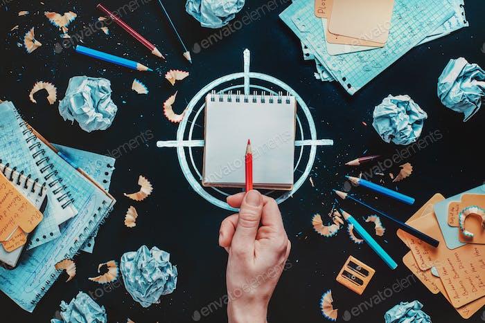 Schriftsteller bei der Arbeit: Entscheidung über das Ziel