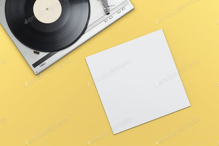 Vinyl player with empty blank cover mockup template.