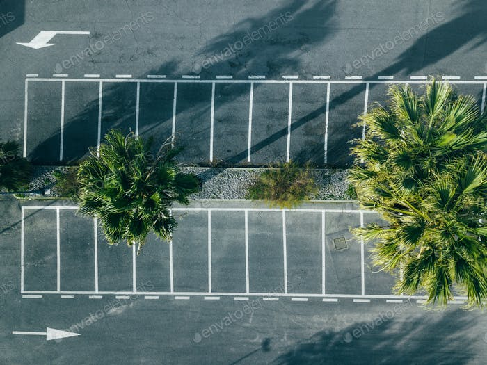 Aerial view of empty parking lots in Italy.
