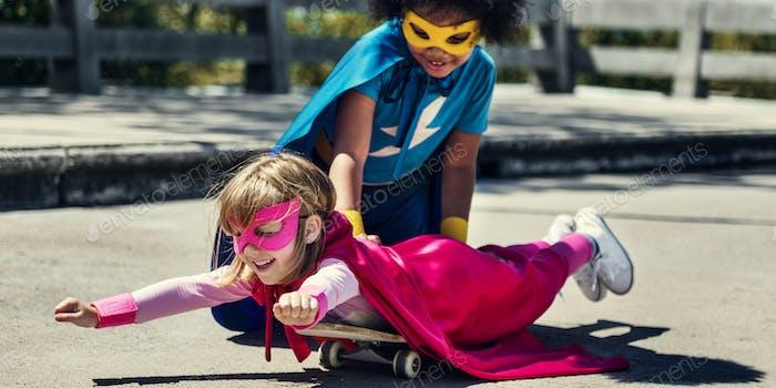 Kinder Kindheit Super Hero Konzept
