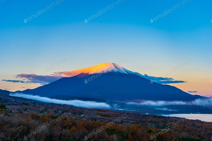 Beautiful fuji mountain in yamanakako or yamanaka lake