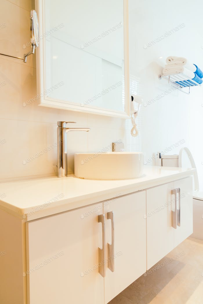 Faucet and sink decoration in bathroom