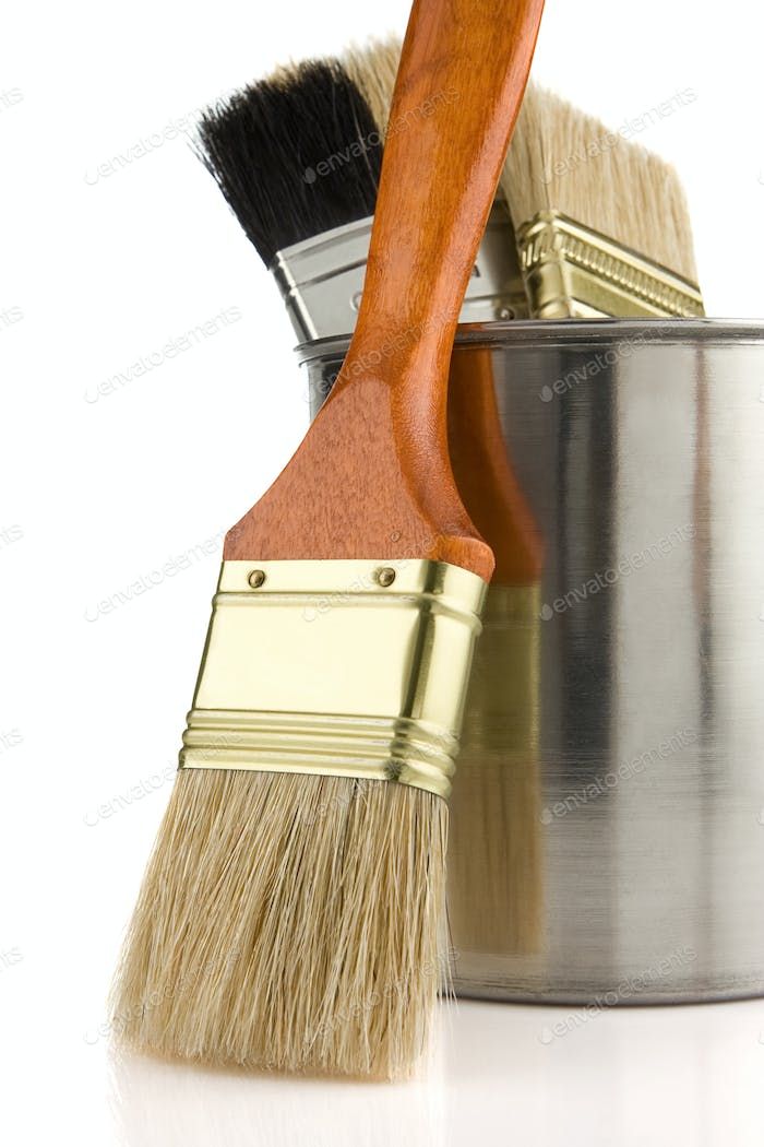 paint bucket and brush isolated on white