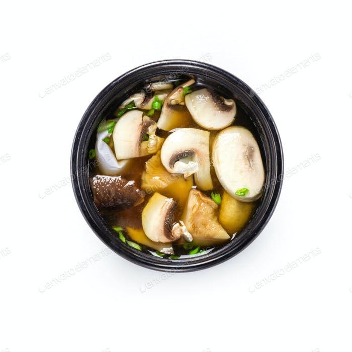 Miso soup with mushrooms, view from above