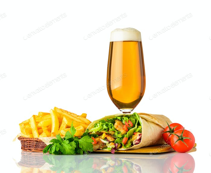 Shawarma Sandwich with Glass Beer on White Background