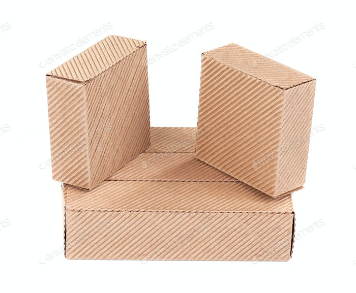 Three corrugated cardboard boxes.
