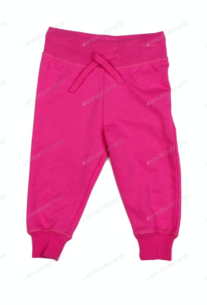 Pink Cotton baby pants.