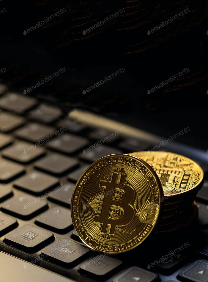 Bitcoin cryptocurrency gold coin on laptop. Blockchain technology.  3d illustration