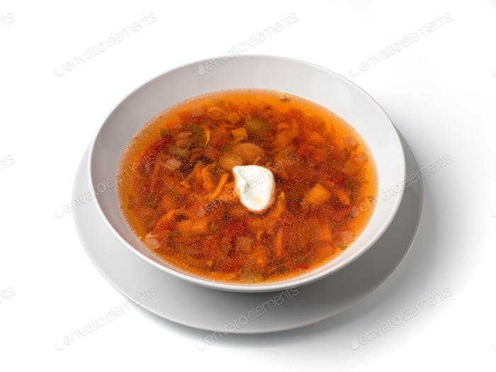 soup in plate isolated