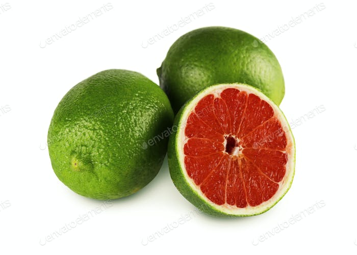 Genetically modified lime fruits with grapefruit center on white background. Collage