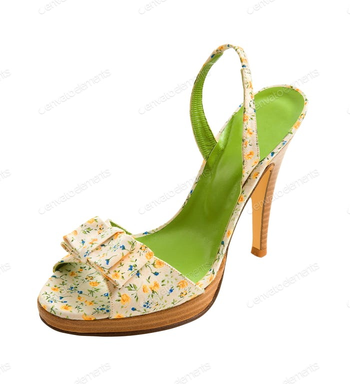 Flowers print peep toe stiletto