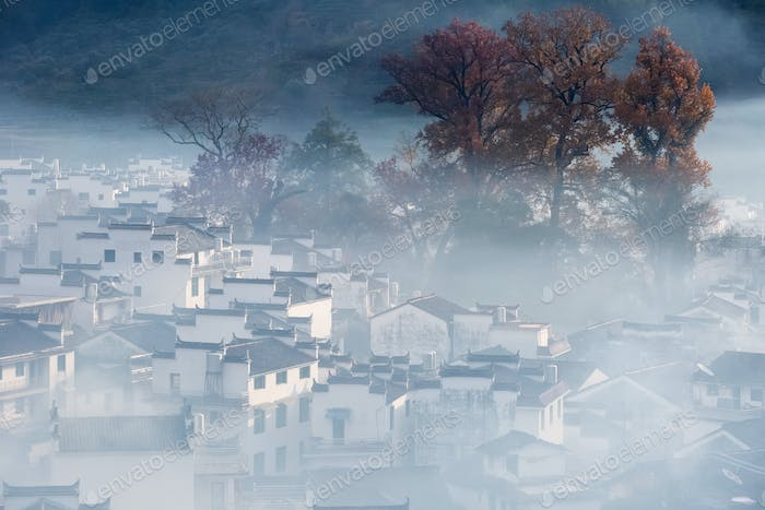 beautiful morning view of shicheng village