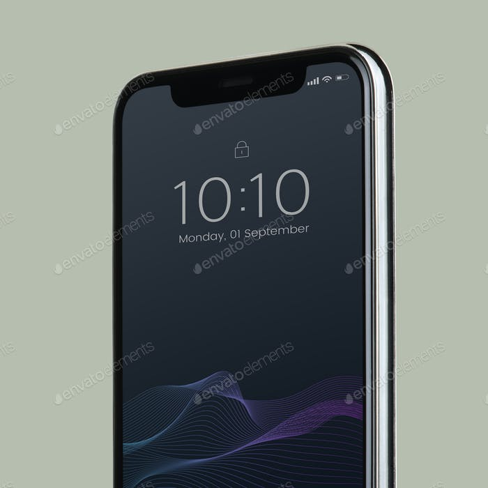 Black screen smartphone mockup design