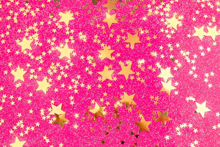 Pink Party Background with Golden Confetti.
