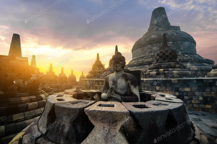 Meditating Buddha statue. Borobudur temple. Java, Indonesia