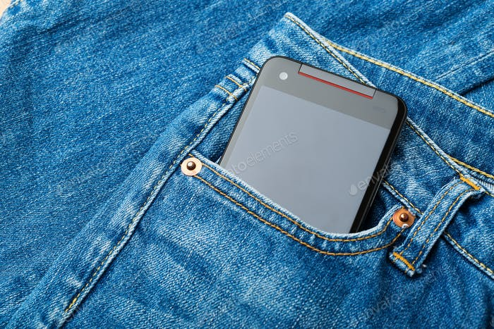 Blue jean pocket with mobile
