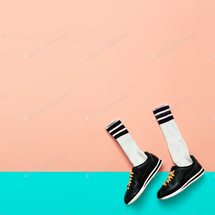 Fashion Sneakers and Hipster Socks. Art minimal style design Bri